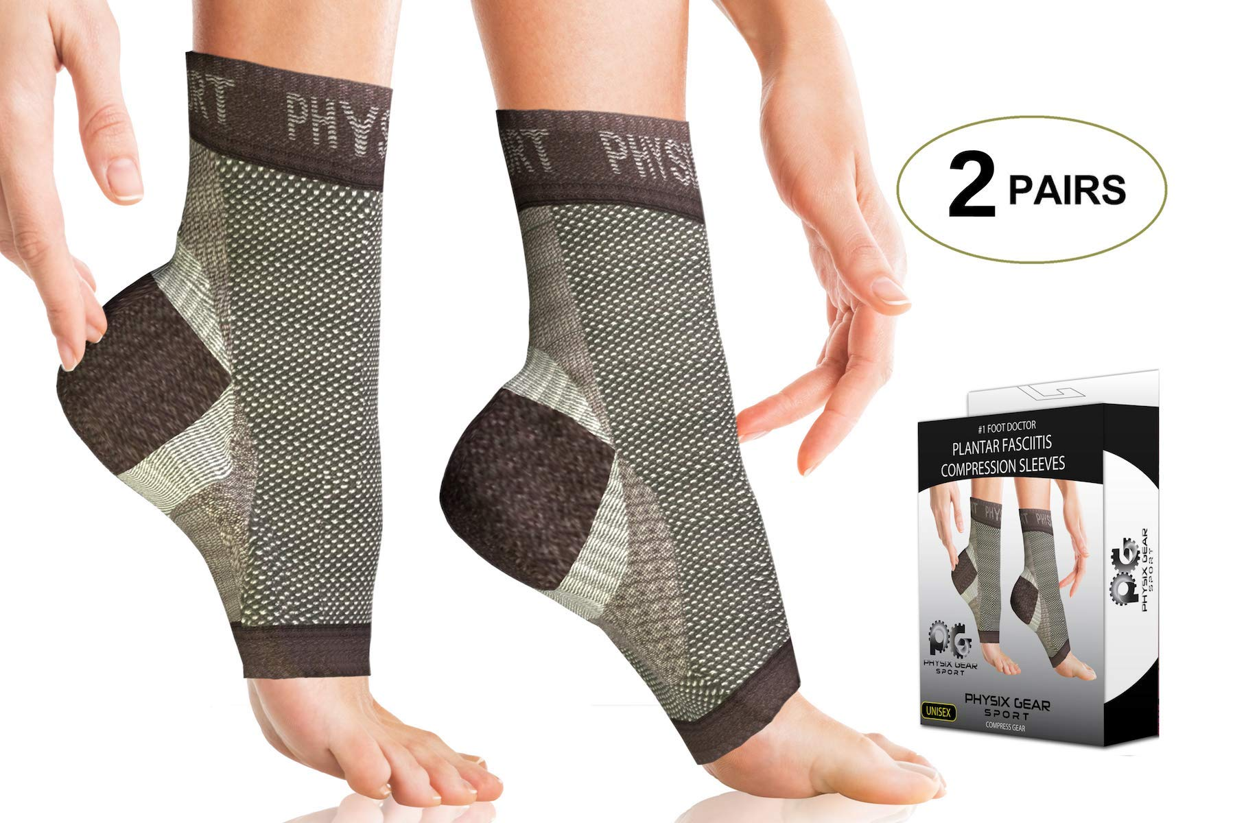 2 PAIRS Plantar Fasciitis Socks with Arch Support, BEST 24/7 Foot Care Compression Sleeve, Better than Night Splint, Eases Swelling & Heel Spurs, Ankle Circulation, Relieve Pain Fast - Black S/M