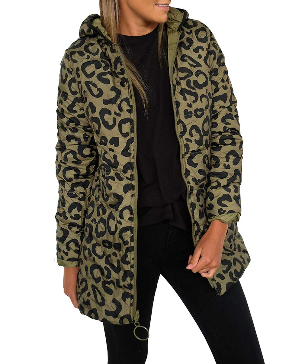 KIRUNDO 2019 Winter Women's Lightweight Jacket Water-Resistant Puffer Coat Zipped Up Leopard Outwear with Pockets (Medium, Green) by KIRUNDO