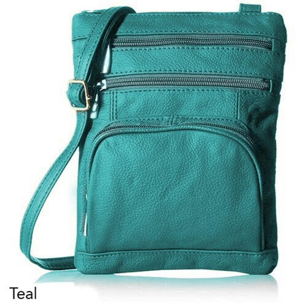 Super Soft Genuine Leather Crossbody Handbag (Teal)