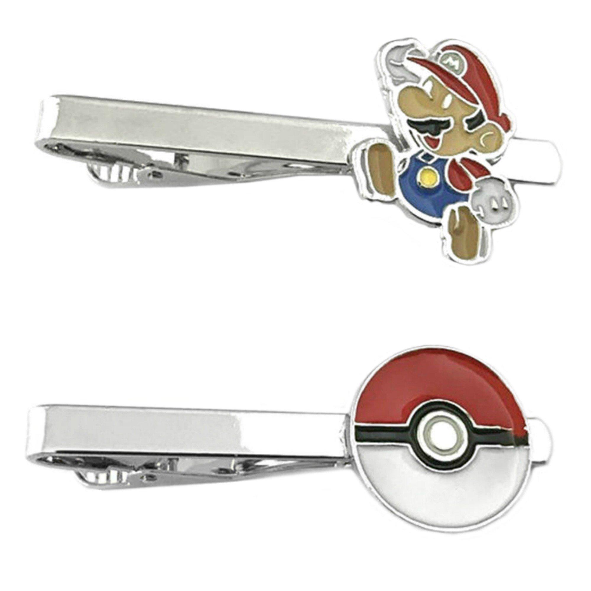 Outlander Video Games - Super Mario Jump & PokeMon PokeBall - Tiebar Tie Clasp Set of 2 Wedding Superhero Logo w/Gift Box