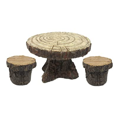 Pacific Giftware Enchanted Garden Tree Stump Table and Chairs Set Mini Fairy Garden Decorative Accessory 3pc Set: Home & Kitchen