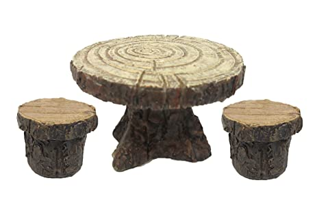 Incroyable Enchanted Garden Tree Stump Table And Chairs Set Mini Fairy Garden  Decorative Accessory 3pc Set