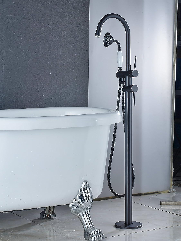 Zovajonia Oil Rubbed Bronze LED Light Bathroom Floor Mounted Tub ...