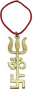 "Siddharatan Gold PlatedHindu Religious Tri Shakti - Trishul ""OM"" Aum, Swastik Swastika - Metal Hanging Home Decor - 4"" Height"