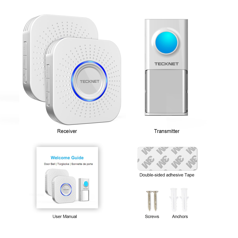 TeckNet Sonnette sans Fil /Étanche Wireless Doorbell Kit de Carillon Portable Sonnerie de 150m avec 58 M/élodies Flash LED pour Maison 4-Niveaux Volume Transmetteur /étanche IP55 Bureau et Boutique