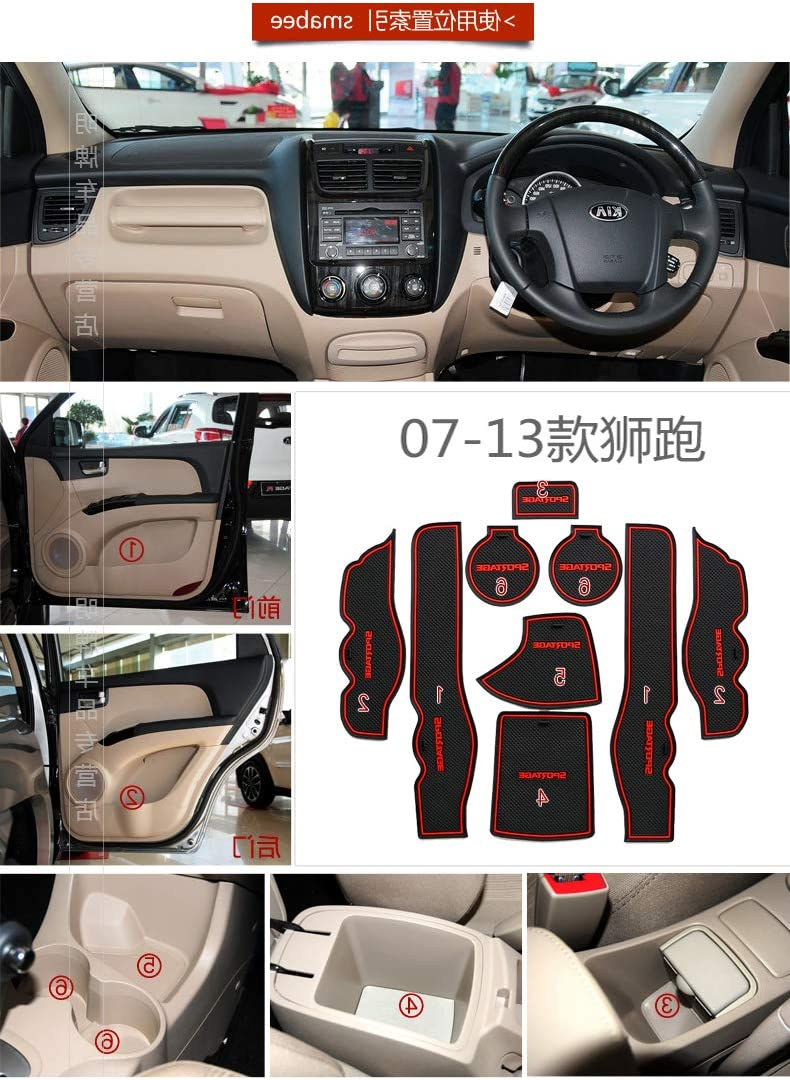 Custom Fit Automotive Cup Holders for KIA Sportage 2007-13,Latex Anti-dust Non-Slip Mats Door and Center Console Liner Interior Accessories Red