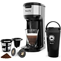 Sboly CM-1177 Single Serve K Cup Coffee Maker with Thermal Mug