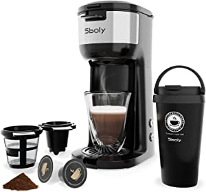 Single Serve Coffee Maker for K-Cup Pods And Ground Coffee,Thermal Drip Instant Coffee Machine Brewer with Vacuum Insulated Coffee Tumbler, Self Cleaning Function, Strength Control by Sboly