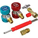 AURELIO TECH R134A Adapters Quick Couplers with Can Tap and Valve Core Remover, 3-in-1 AC Tool Kit