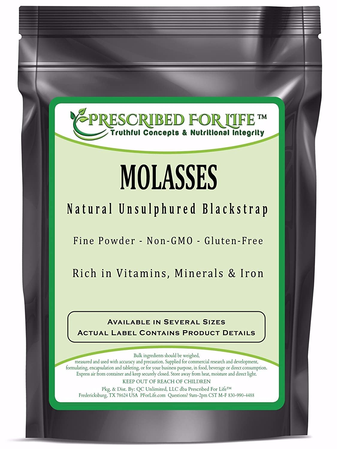 Prescribed for Life Molasses - Natural Non-GMO Unsulphured Blackstrap Molasses Powder, 1 kg