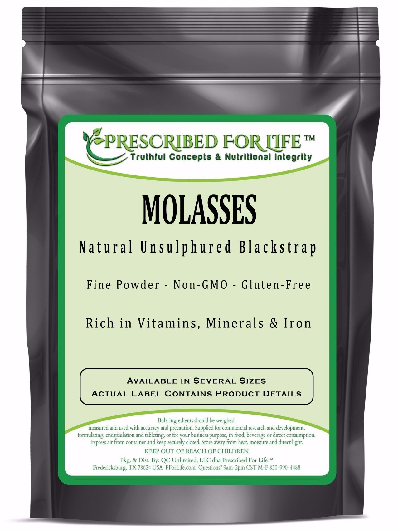 Molasses - Natural Non-GMO Unsulphured Blackstrap Molasses Powder, 12 oz