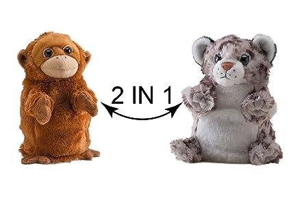 Wild Republic Pantera de Las Nieves y orangután Bongo y Bingo, Peluche Reversible, 18 cm (17715): Amazon.es: Juguetes y juegos
