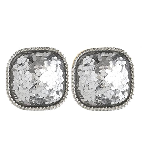 085a60ba8 Boderier Faceted Square Glitter Stud Earrings Cushion Cut Statement Post  Ear Studs (Silver)