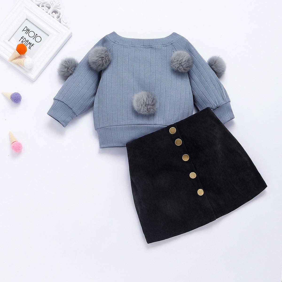 Baby Girl Spring Summer Clothes for Toddler Kids Valentine Shirt Top Button Leather Skirt Dress Outfits Set