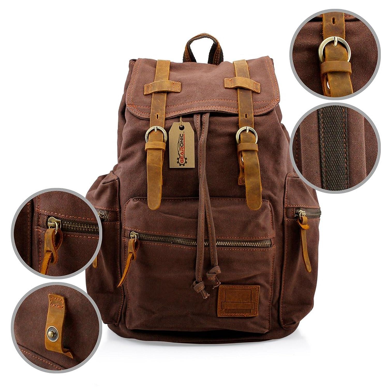 gearonic tm men s vintage canvas leather tote satchel