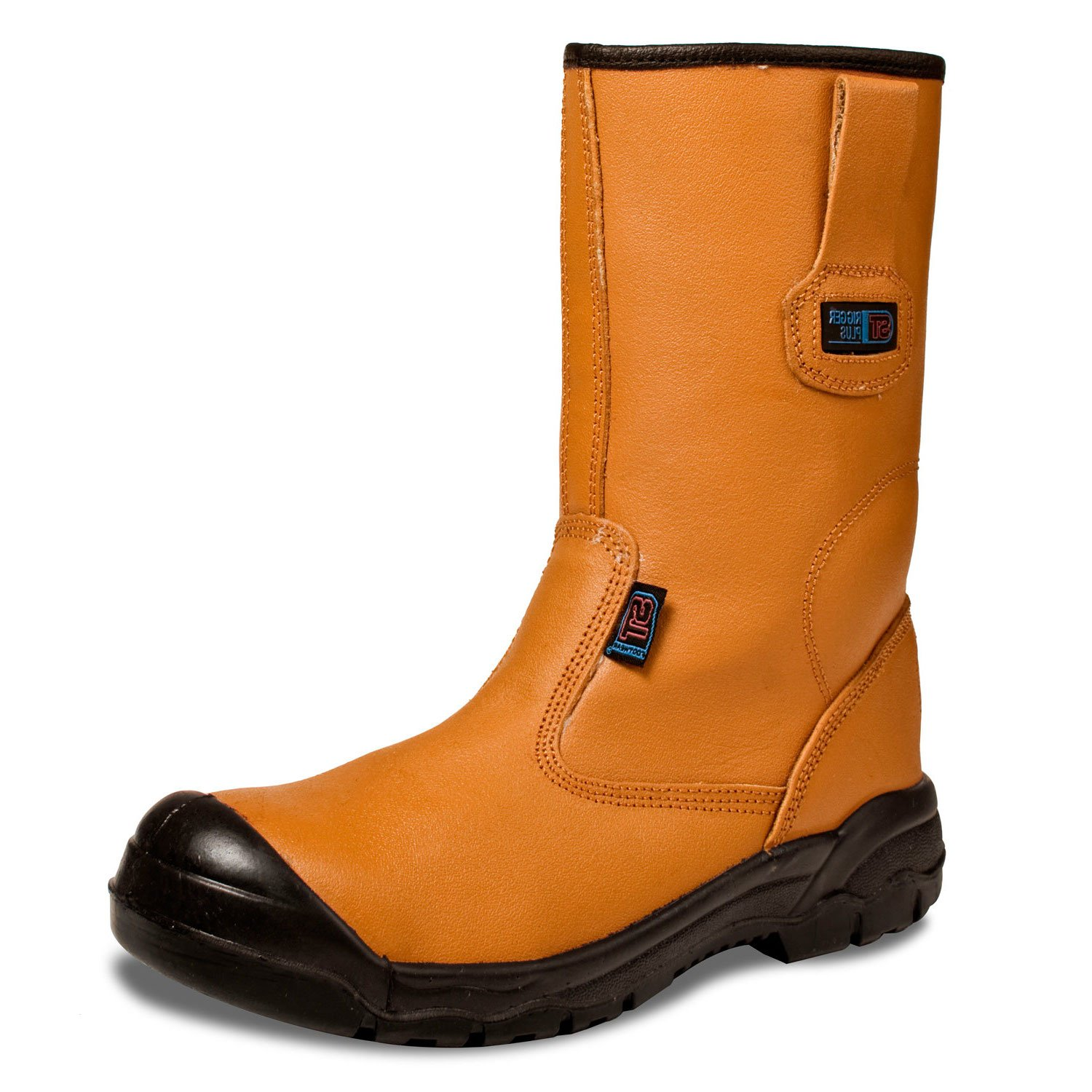 TAN LINED SAFETY RIGGER BOOTS WORK STEEL TOE CAP OIL RESISTANT SIZES 5 TO 13