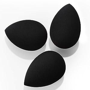 Makeup Sponges, Larbois 3-Pack Blender Beauty Foundation Blending Sponge, Professional Beauty Makeup Set for Dry & Wet Use (Drop, Black+Black+Black)