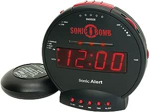 Sonic Alert Alarm Clock Sbj525ss Sonic Bomb Jr, Black/red