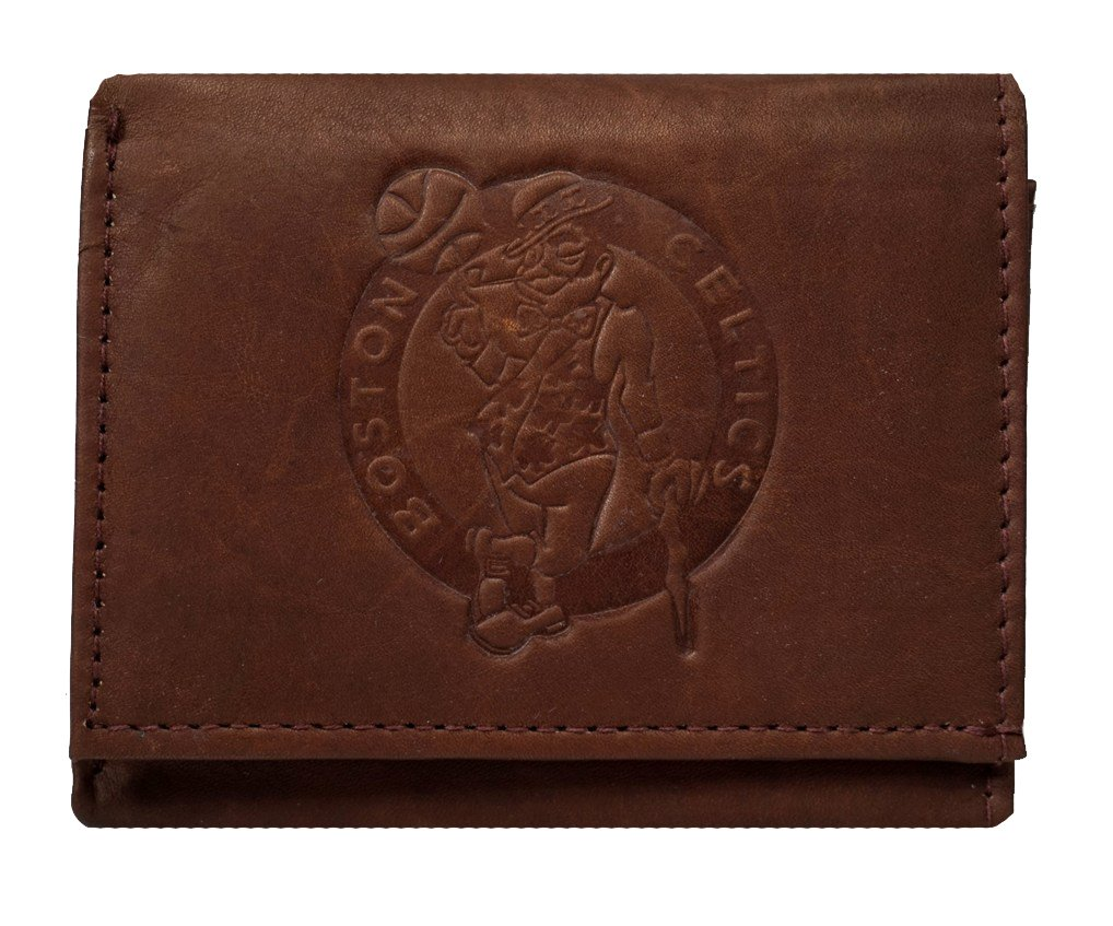 Rico Boston Celtics NBA Embossed Logo Dark Brown Leather Trifold Wallet