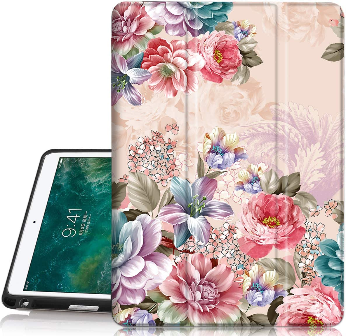 Hocase iPad Air 3rd Gen/iPad Pro 10.5 Case, Trifold Smart Case with Pencil Holder, Unique Pattern Design, Auto Sleep/Wake, Soft Back Cover for iPad A1701/A1709/A2152/A2123/A2153 - Peony Flowers