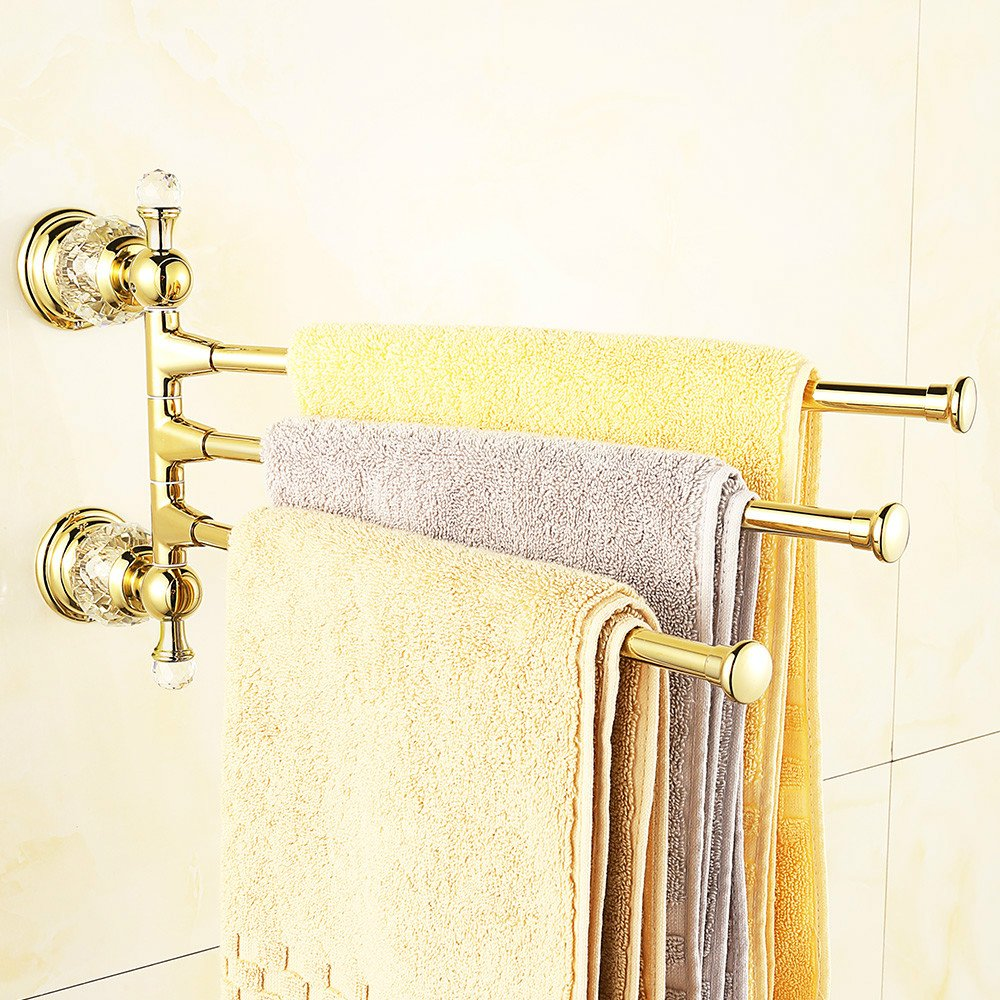 AUSWIND Antique Polished Gold Brass Towel Rack 3 Arms 14.17'' Crystal Copper Finished Wall Mounted Bathroom Hardware