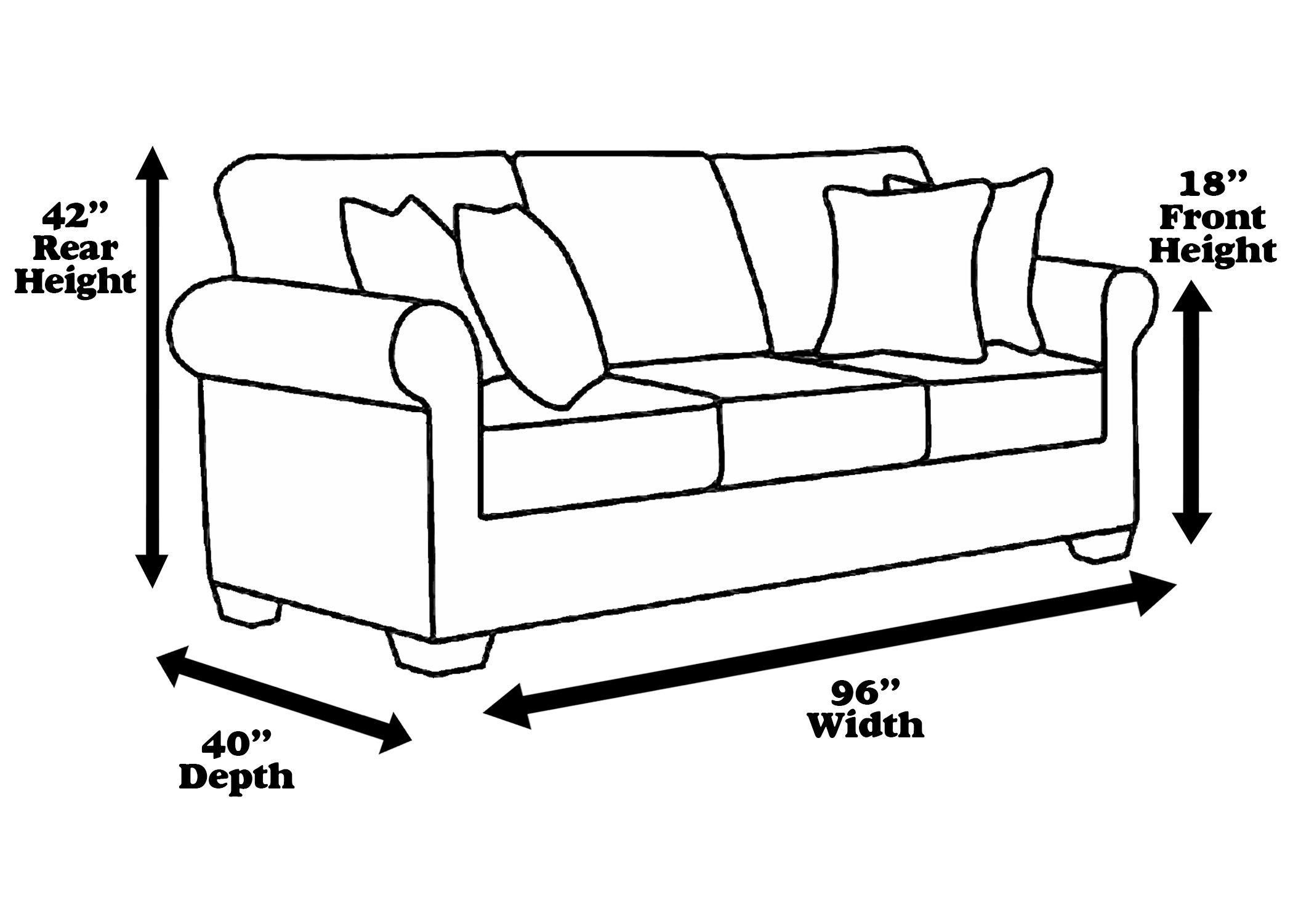 96'' Clear Vinyl Furniture Protector - Sofa Cover 96'' W X 40''D X 42''H rear, 18''H front )
