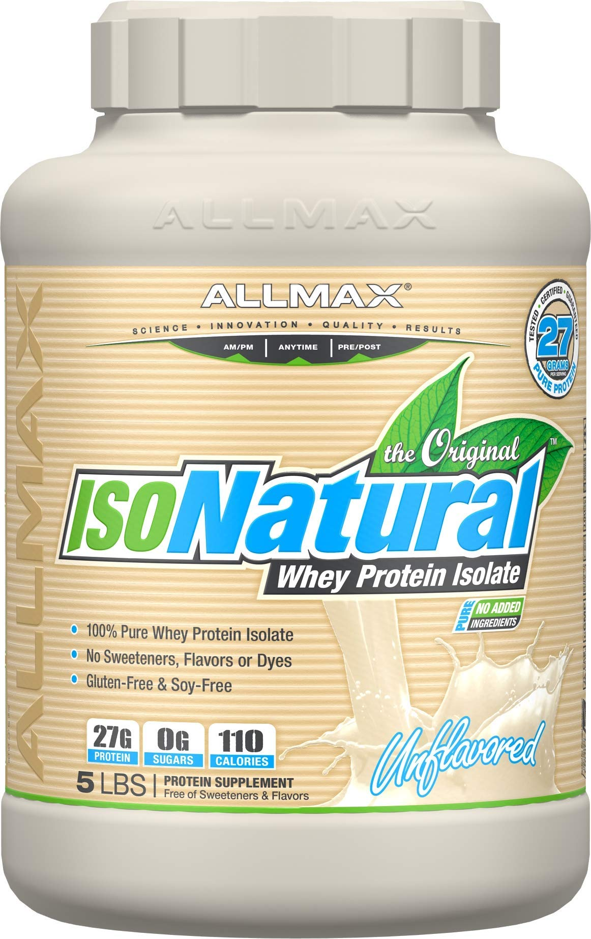 ALLMAX Nutrition Isonatural 100% Ultra-Pure Natural Whey Protein Isolate, Unflavored, 5 lbs by ALLMAX Nutrition