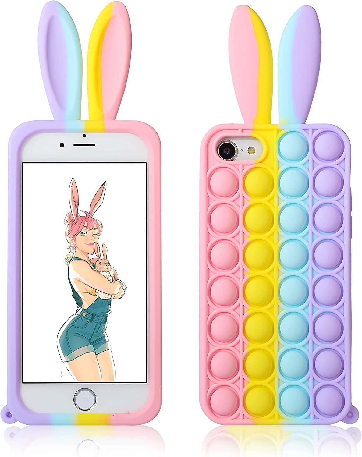 Jowhep for iPhone 6/6S/7/8/SE 2020 Case Cover Cases Silicone Cartoon Fun Kawaii Cute Aesthetic Design Fidget for Girls Boys Friends Women Teen-Bubble Rabbit Ears(for iPhone 6/6S/7/8/SE 2020 4.7