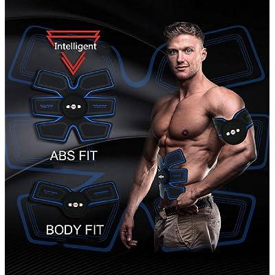 L-Life ElectrostimulateursAbdominale Muscle Toner Corps Tonifiant Fitness Entraînement Abs Fit Formation ABS Fit Poids Muscle Entraînement Abs Ceinture Tonification Gym Workout Machine, Smart Home Fitness Appareil