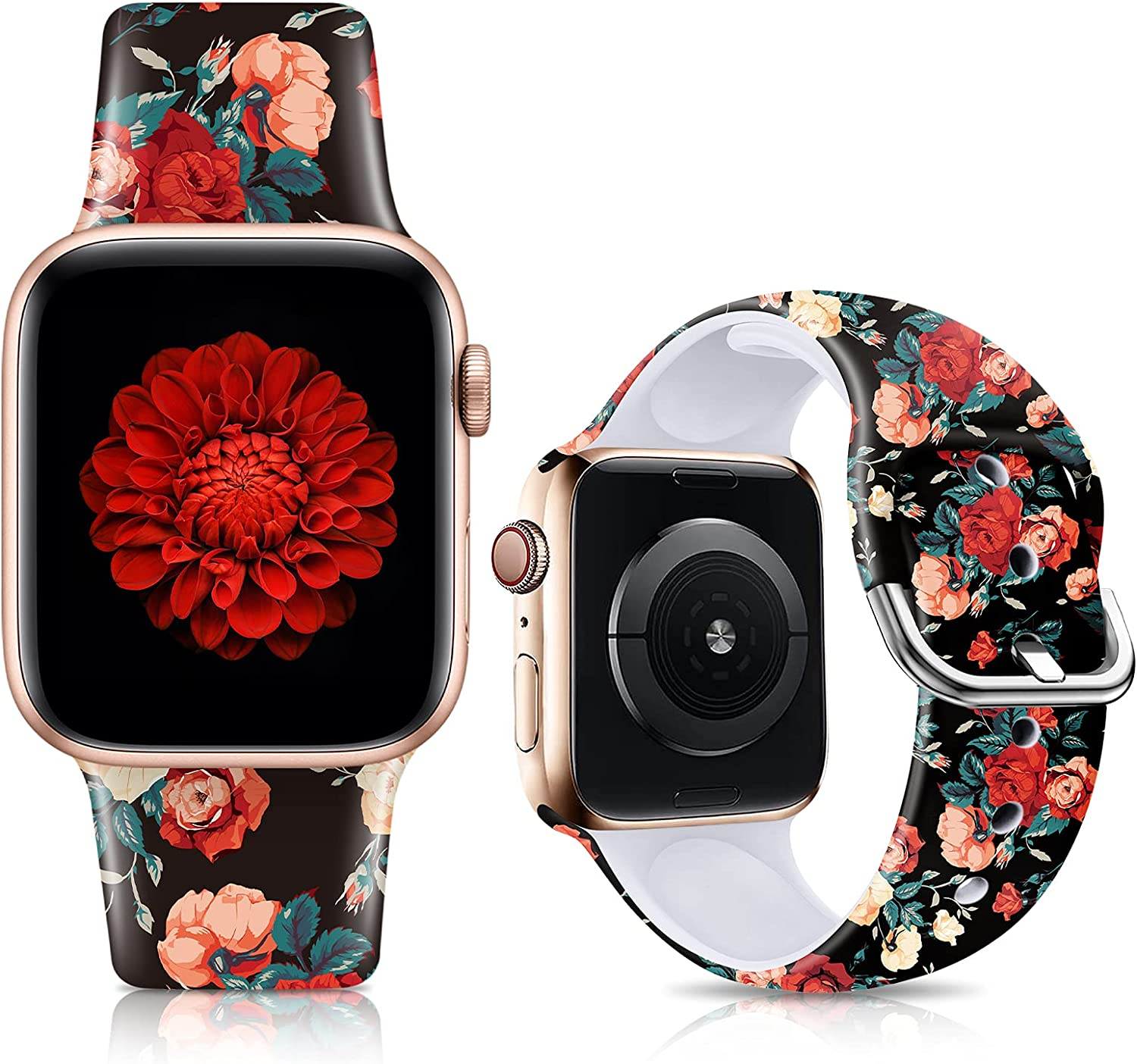 IKANFI Bands Compatible with Apple Watch Band 38mm 40mm 42mm 44mm for Women Men Soft Silicone Pattern Printed Band Strap for iWatch SESeries 6 5 4 3 2 1 Wristband