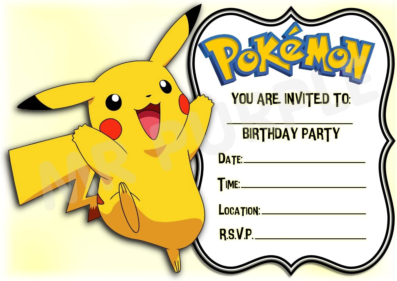 Quantity of 12 Fill In Birthday Invitations  No Envelopes Pokemon