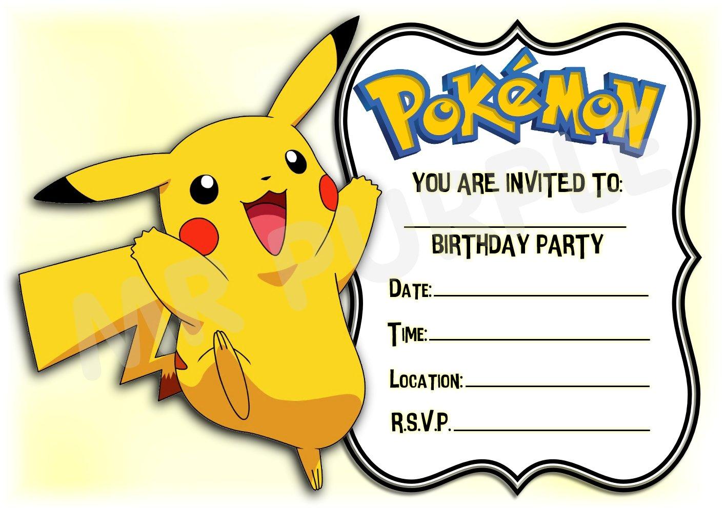 Pokemon cumpleaños fiesta invita a–diseño de paisaje marco, diseño de Pikachu–fiesta suministros/accesorios (Pack de 12invitaciones A5) WITH Envelopes MrPurple
