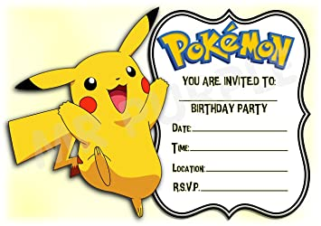 Pokemon Birthday Party Invites Landscape Frame Pikachu Design Party Supplies Accessories Pack Of 12 A5 Invitations With Envelopes