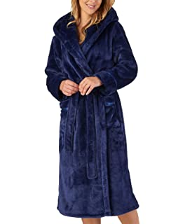 Dressing Gown Ladies Bathrobe Faux Fur Shawl Collar Hooded Wrap Robe Slenderella
