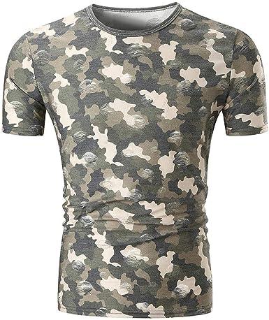 Camiseta De Los Hombres Camuflaje O Cuello Jerseys Manga Corta Ropa Slim Fit Muscle Tops Verano Vintage Fashion Sport Shirt Tops: Amazon.es: Ropa y accesorios