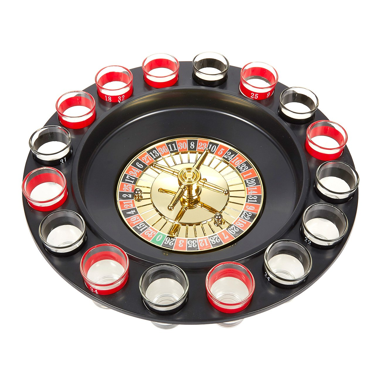 Juvale Roulette Drinking Game - Shot Glass Roulette Set Includes Roulette Wheel, 16 Shot Glasses, 2 Roulette Balls, and Starting Guide