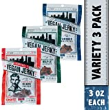 Louisville Vegan Jerky - 3 Flavor Variety Sampler Pack, Vegan/Vegetarian Jerky, 21 Grams of Protein (Bourbon Smoked Black Pepper, Sriracha Maple & Bourbon Smoked Spicy Chipotle, 3 oz)