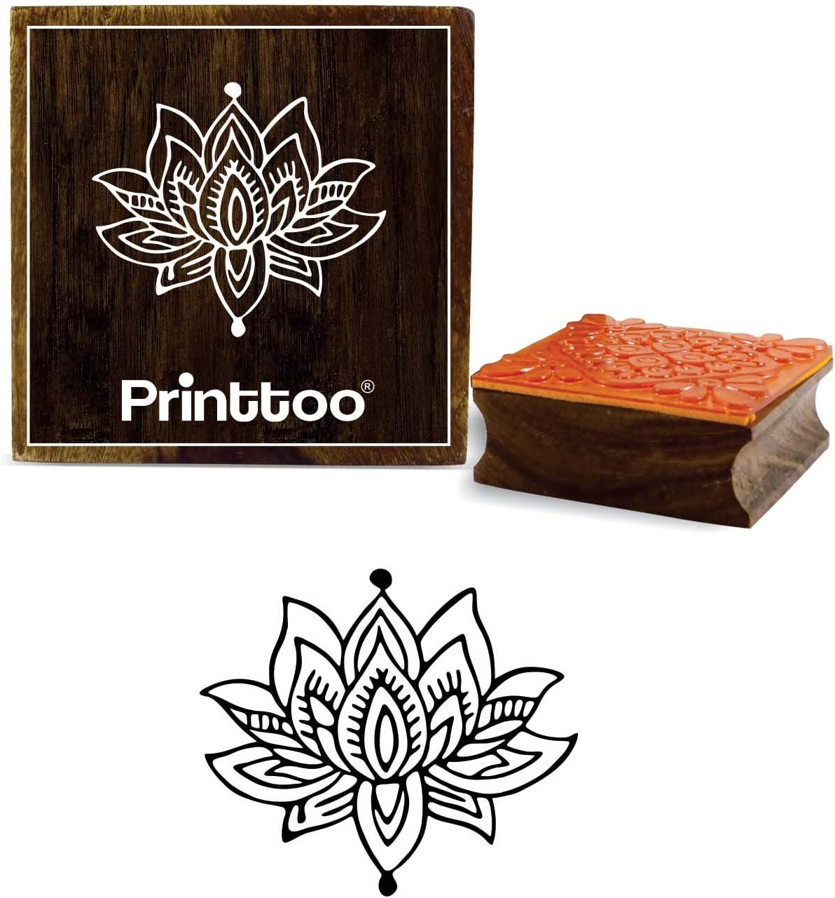 Printtoo Lotus Floral Design Wooden Rubber Stamp Square Brown Craft Block-2 x 2 Inches
