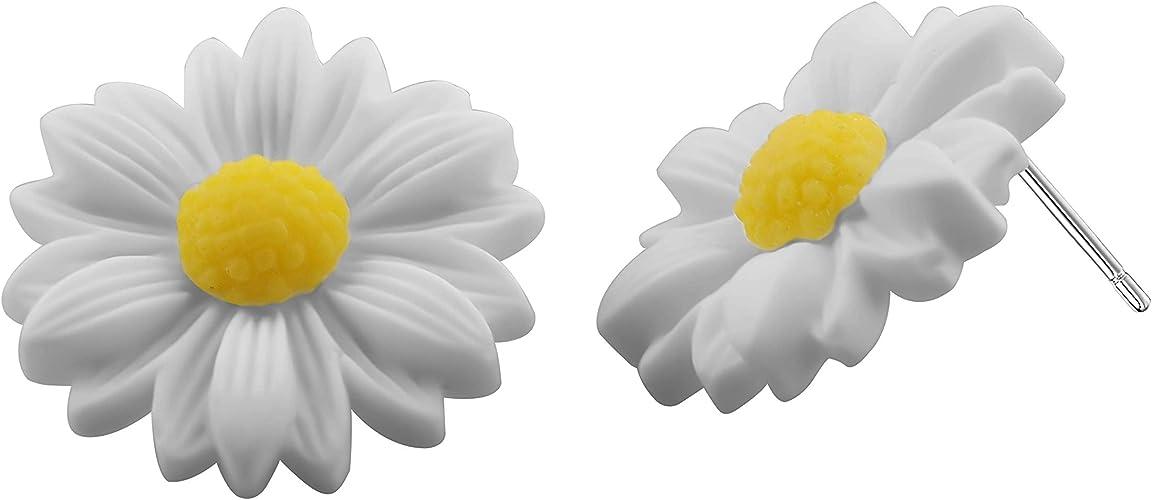 DAISY FLOWERS  Stud Earring Boys Mens Womans Steel Ear Ring Single or Pair