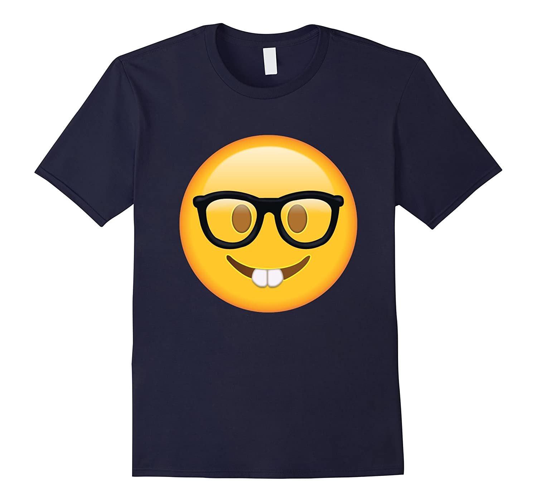 Nerd with Glasses Emoji T-shirt Emoticon Nerdy Side Tshirt-Teevkd
