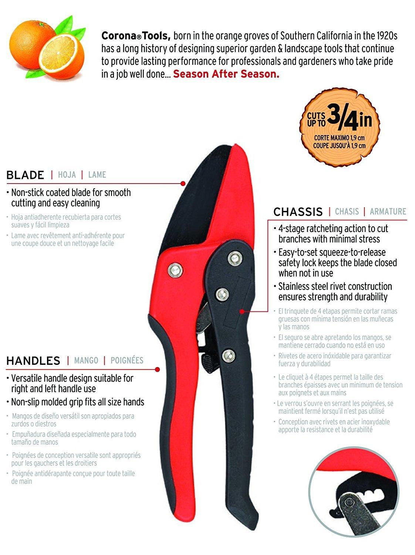 Corona RP 3230 Ratchet Hand Pruner, 3/4-Inch Cut
