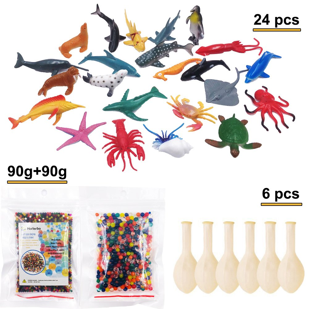 Water Beads Pack - Rainbow Mix Jelly Growing Beads Toy Set - 90g Small Beads, 90g Jumbo Big Beads, 24 Ocean Animals, 6 Balloons, Sensory Toy Playset for Beads, Plants, Home Decor, Party Favors