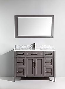 Vanity Art 48 Inch Single Sink Bathroom Vanity Set Carrara Marble Stone Soft Closing Doors Undermount Rectangle Sink with Free Mirror VA2048-G