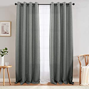 jinchan Textured Linen Curtain Panels for Bedroom Drapes for Living Room Drapes Thermal Insulated Room Darkening Window Treatment Set, Grommet Top (2 Panels, L90-Inch, Grey)