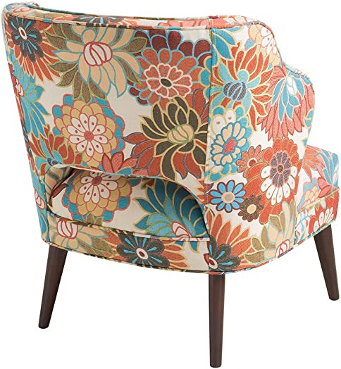 Madison Park Cody Accent Chairs – Hardwood, Brich Wood, Floral, Bedroom Lounge Mid Century Modern Deep Seating, Wingback Club Style Living Room Furniture, Multi