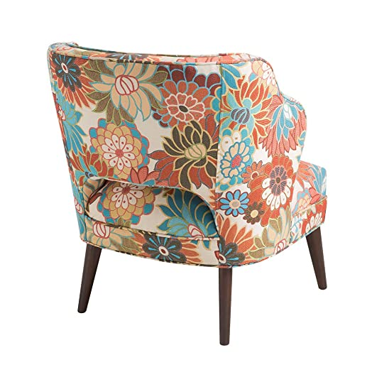 Madison Park Cody Accent Chairs - Hardwood, Brich Wood, Floral, Bedroom Lounge Mid Century Modern Deep Seating, Wingback Club Style Living Room Furniture, Multi