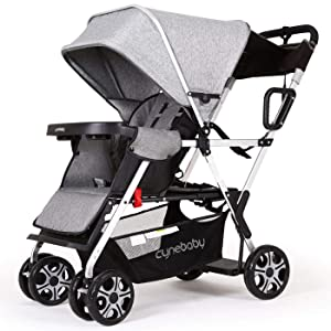 Double Stroller lux Sit N Stand Baby Pushchair Tandem Lightweight Stroller Compact Vista 2kid Pram Twin Toddler Citi Urban Strollers (Classic Gray)