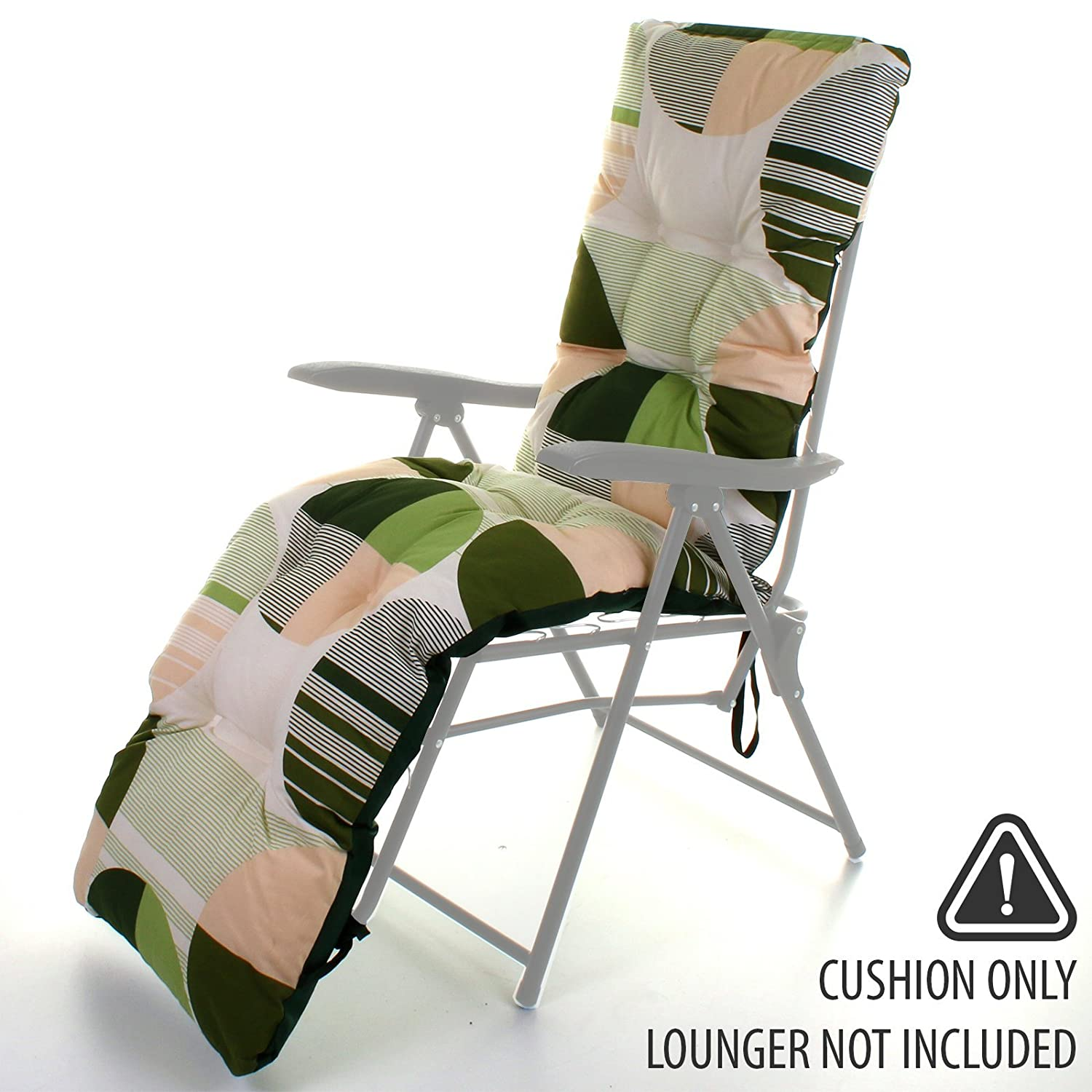 replacement outdoor garden sun lounger cushion thick padded spare