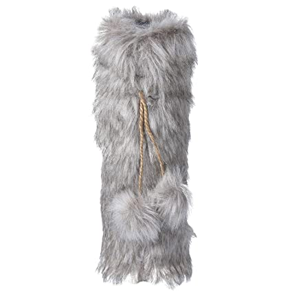 Equuleus Faux Fur Wine Bag (Grey) with Drawstrings   Handmade Christmas  Wine Bottle Cover 27f6042fbf