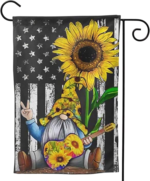 MINIOZE Sunflower Gnome Playing-Guitar-American Flag Party Themed Flag Welcome Outdoor Outside Decorations Ornament Picks Garden Yard Decor Double Sided 12.5X 18 Flag